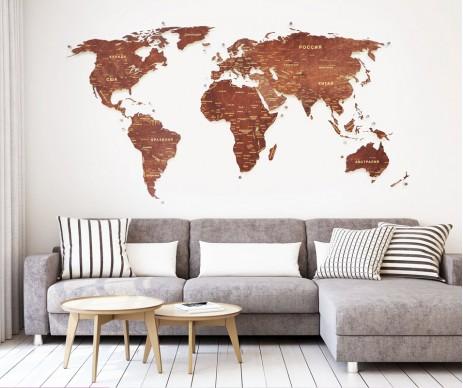Карта мира коричневая на оргстекле